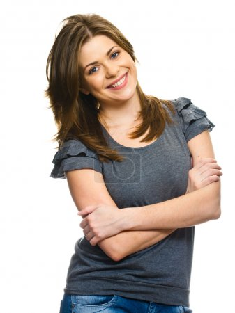 Photo for Young smiling happy woman portrait on white. - Royalty Free Image