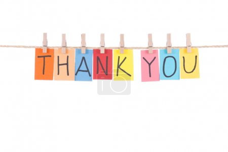 Photo for Thank you, paper words card hang by wooden peg - Royalty Free Image