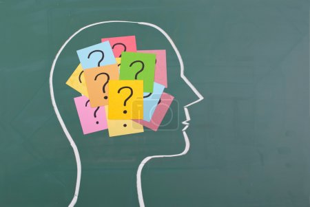 Photo for Human brain and colorful question mark draw on blackboard - Royalty Free Image