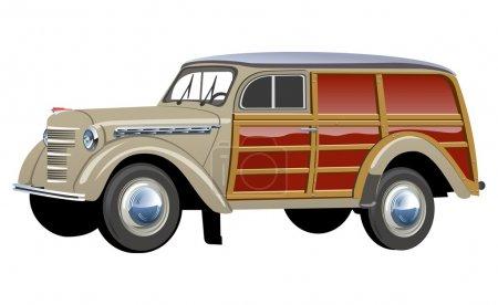 Vector retro woody van