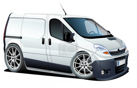 Illustration for Vector cartoon delivery / cargo van. Available ai-10 vector format separated by groups for easy edit - Royalty Free Image