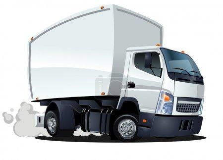 Photo pour Livraison de dessin animé vectoriel / camion cargo. Format vectoriel AI-10 disponible séparé par des groupes pour une modification facile - image libre de droit