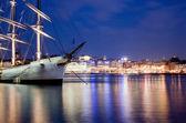 Ship at night in Stockholm, Sweden