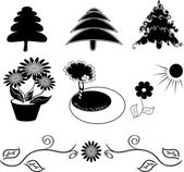 Silhouettes set elements for your graphic design