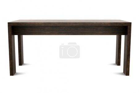 Modern brown wooden table isolated on white backgr...