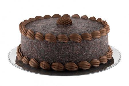 Photo pour Gâteau au chocolat rond isolé sur fond blanc - image libre de droit