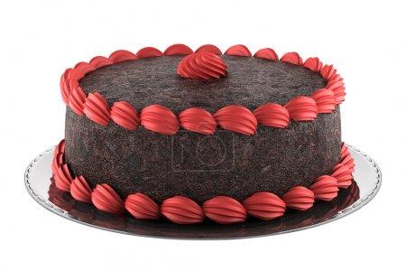 Photo pour Gâteau au chocolat rond avec crème rose isolé sur fond blanc - image libre de droit