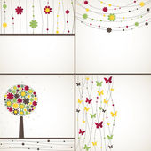 4 background with plant Vector illustration