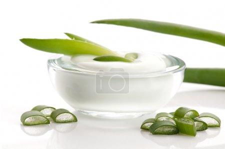 Photo pour Aloe vera - feuilles et crème isolées sur fond blanc - image libre de droit