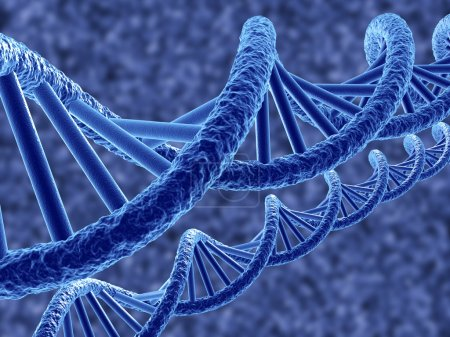 Photo for 3d render of dna on blue background - Royalty Free Image