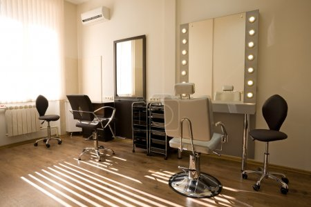 Modern salon make-up artist and hairdresser
