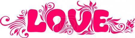 """Illustration pour Le mot """"amour"""" et les motifs floraux sur fond blanc - image libre de droit"""
