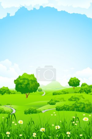 Green Landscape with trees and mountain