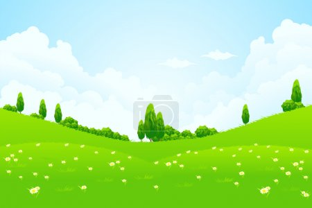 Illustration for Green Landscape with trees clouds flowers and hills - Royalty Free Image