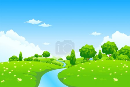 Green Landscape with river trees and flowers
