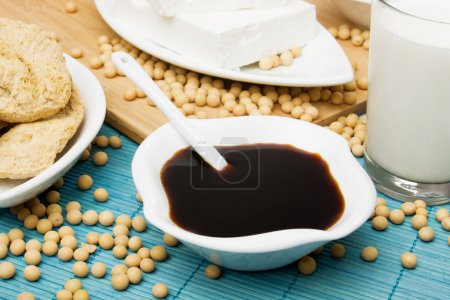 Photo for Soya sauce, tofu and other soy products - Royalty Free Image
