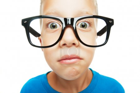 Photo for Young boy with nerd glasses isolated on white background - Royalty Free Image