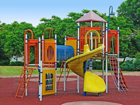 A colorful public playground in a garden