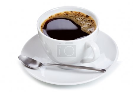 Photo for Cup of black coffee on white background - Royalty Free Image