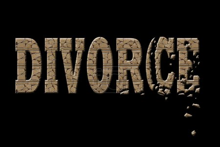 Photo for Typography illustration of divorce with a crumbling rock wall - Royalty Free Image