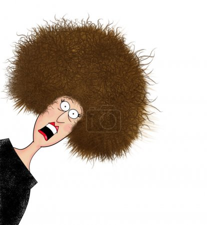 Photo for Funny cartoon of a woman with giant frizzy hair - Royalty Free Image
