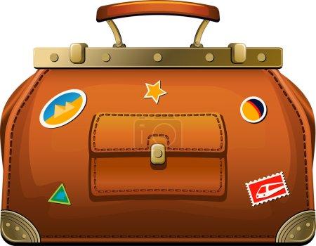 Illustration for Old-fashioned travel bag (valise) over white. EPS 8, AI, JPEG - Royalty Free Image