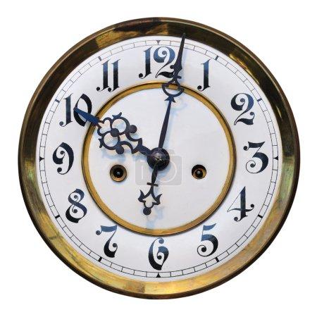 Photo pour Antique cadran indiquant l'heure (10:02), isolé sur blanc. - image libre de droit