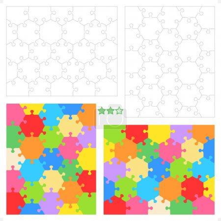 Hexagonal puzzle templates and patterns
