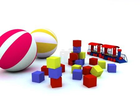 Blocks, balls and locomotive, are child's toys