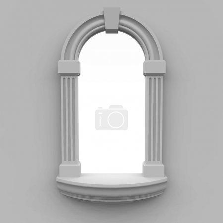 Photo pour Fenêtre, exécuté dans un style classique, avec un genre sur fond blanc - image libre de droit