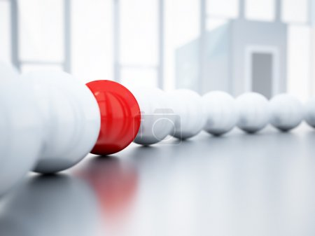 Photo for Blurred white balls and red ball is in focus on blurred light background - Royalty Free Image