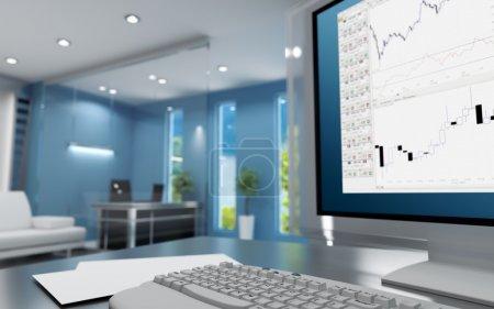 Photo pour Lieu de travail du commerçant dans une cabine moderne avec clavier et moniteur - image libre de droit
