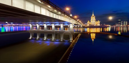 Night Moscow. Moscow River. Hotel Ukraine.