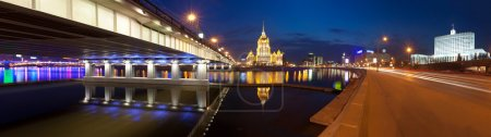 Night Moscow. Moscow River. Hotel Ukraine and the House of Gov