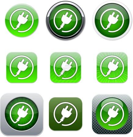 Illustration pour Prise d'alimentation Ensemble d'icônes d'applications. Illustration vectorielle . - image libre de droit