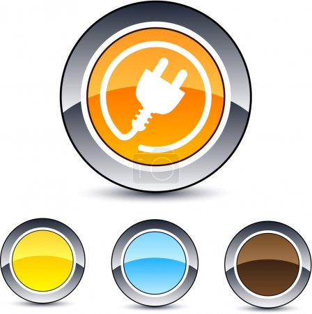 Illustration for Power plug glossy round web buttons. - Royalty Free Image
