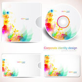 Cover design template of disk and business card Floral Design