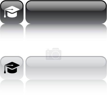 Graduation square button.
