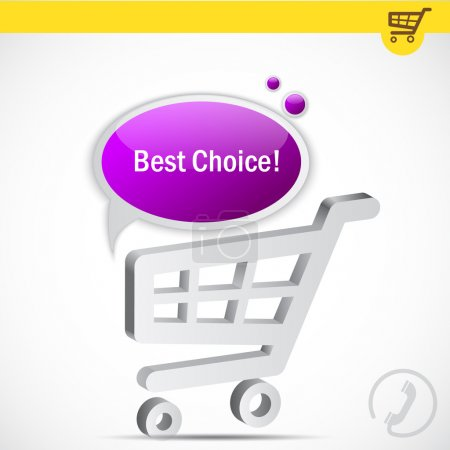 Shopping cart with bubble for speech