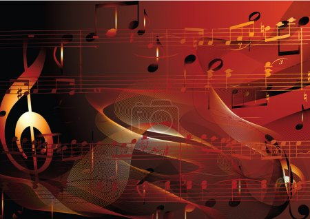 Illustration for Golden music background with note. - Royalty Free Image