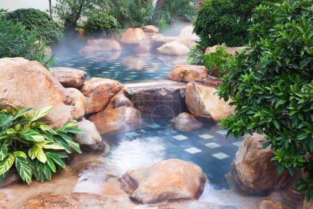 Foggy water pool feature
