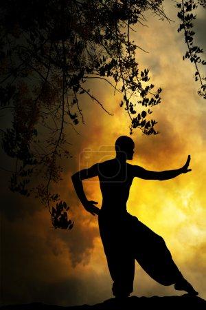 Photo pour Arts martiaux spirituels Méditation au coucher du soleil Fond jaune - image libre de droit