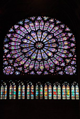 Stained glass window in Notre dame cathedral