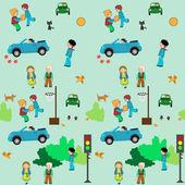 Town of kids seamless pattern
