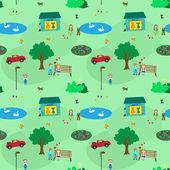 KIds town cartoon seamless pattern for girls