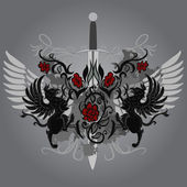 Fantasy design with gryphon roses and sword