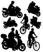 Silhouettes of motorcycles and bikes