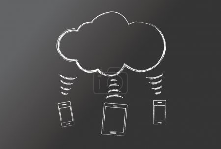 Illustration for Blackboard - cloud computing - Royalty Free Image