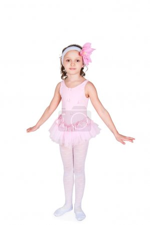 Photo for Full-length portrait of a little girls practicing her ballet kicks on a white background - Royalty Free Image