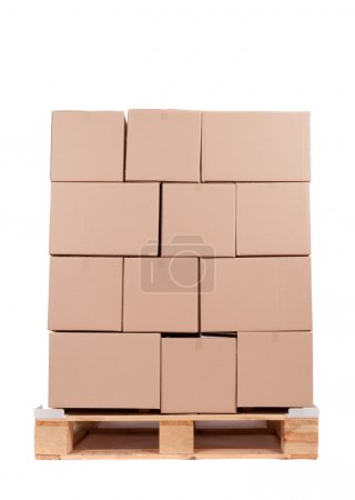 Photo for Cardboard boxes on wooden palette, photo on white - Royalty Free Image